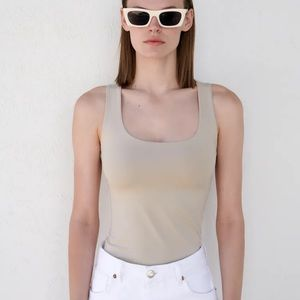 ZARA Tan Square Neck Wide Strap Fitted Tank Top